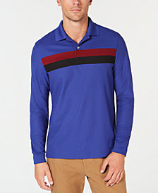 Club Room Men's Long-Sleeve Striped Polo, Created for Macy's
