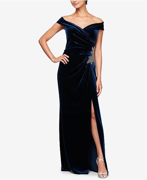 94caec348e2 Alex Evenings Off-The-Shoulder Velvet Slit Gown   Reviews ...