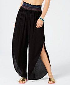 Bar III Side Slit Smocked Cover-Up Beach Pants, Created for Macy's