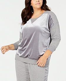 Alfani Plus Size Velvet-Panel Pajama Top, Created for Macy's
