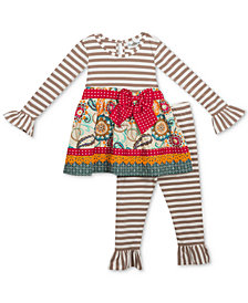 Rare Editions Baby Girls 2-Pc. Mixed-Print Tunic & Striped Leggings Set