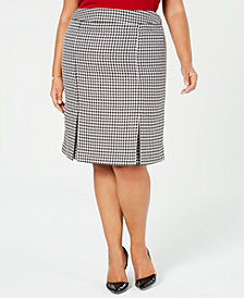 Kasper Plus Size Houndstooth-Print Skirt