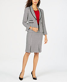Kasper Houndstooth Jacket, Pleated Shell & Skirt