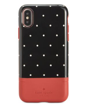 Kate Spade New York Pin Dot Card-Slot Iphone X Case in Heirloom Red- X