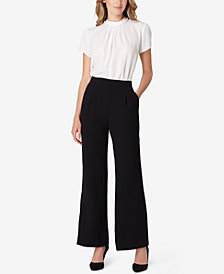 Tahari ASL Embellished Top & Wide-Leg Pants