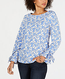 Charter Club Tie-Sleeve Floral-Print Top, Created for Macy's