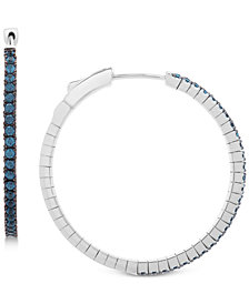 Blue Topaz Hoop Earrings (1-5/8 ct. t.w.) in Sterling Silver (Also available in Rhodolite Garnet & Amethyst)