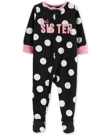 Carter's Baby Girls Dot-Print Sister Footed Pajamas
