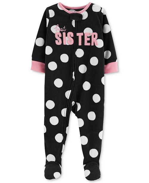 fb2233fe2a2f Carter s Baby Girls Dot-Print Sister Footed Pajamas - Pajamas - Kids ...