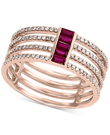 EFFY® Ruby (1/4 ct. t.w.) & Diamond (1/3 ct. t.w.) Multi-Band Statement Ring in 14k Rose Gold