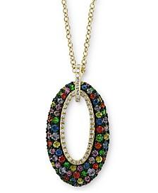 "EFFY® Multi-Sapphire (1-3/8 ct. t.w.) & Diamond (1/8 ct. t.w.) Oval 18"" Pendant Necklace in 14k Gold"
