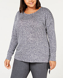 NY Collection Plus Size Asymmetrical Sweater