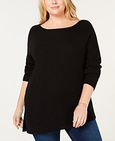525 America Plus Size Cotton Asymmetrical Hem Sweater, Created for Macy's