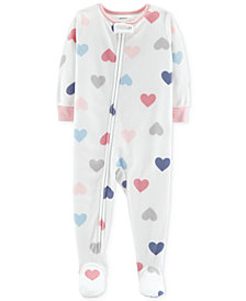 Carter's Baby Girls Heart-Print Footed Pajamas
