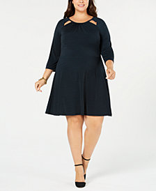 MICHAEL Michael Kors Plus Size Printed Cutout-Neck Dress