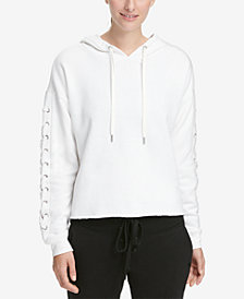 DKNY Sport Logo Lace-Up Sleeve Cropped Hoodie