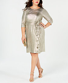 Jessica Howard Plus Size Metallic Ruffle-Trim Sheath Dress