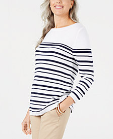 Karen Scott Petite Striped Cotton Lace Up Sweater, Created for Macy's