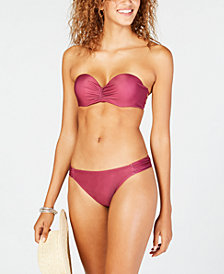 California Waves Solid Strappy Side Push Up Bandeau Top, Available in D/DD & Solid Side Shirred Hipster Bottoms, Created for Macy's