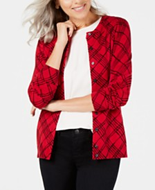 Karen Scott Plaid-Print Cardigan Sweater, Created for Macy's
