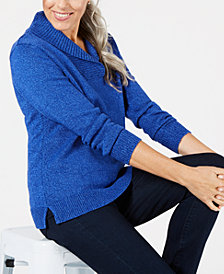 Karen Scott Petite Cotton Shawl-Collar Sweater, Created for Macy's