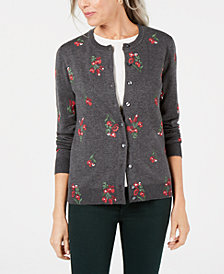 Karen Scott Petite Poinsettia-Print Cardigan Sweater, Created for Macy's