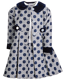 Blueberi Boulevard Little Girls 2-Pc. Striped Dot-Print Coat & Dress Set