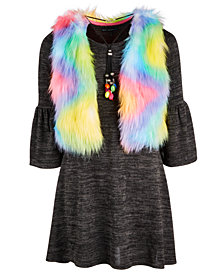 Sequin Hearts Big Girls 3-Pc. Rainbow Vest and Dress Set
