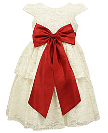Jayne Copeland Little Girls Bow-Trim Lace Dress