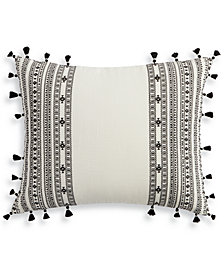 "Lucky Brand Embroidered Stripe 16"" X 20"" Decorative Pillow, Created for Macy's"
