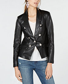 I.N.C. Petite Faux-Leather Blazer, Created for Macy's