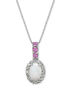 "Multi-Gemstone (5/8 ct. t.w.) & Diamond (1/6 ct. t.w.) 18"" Pendant Necklace in 14k White Gold"