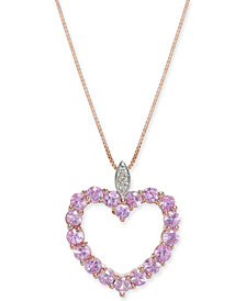 "Pink Sapphire (1-3/4 ct. t.w.) & Diamond Accent 18"" Pendant Necklace in 14k Rose Gold"