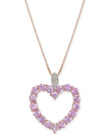 """Pink Sapphire (1-3/4 ct. t.w.) & Diamond Accent 18"""" Pendant Necklace in 14k Rose Gold"""