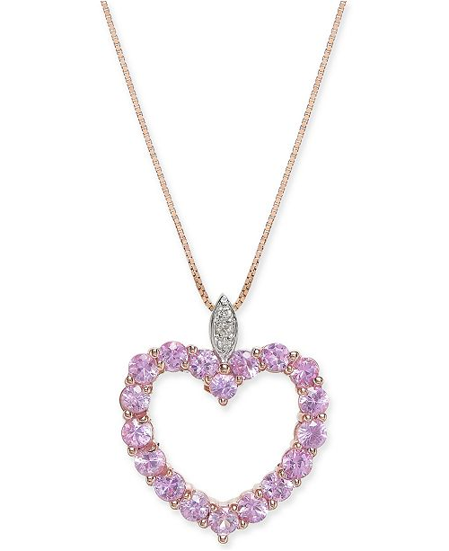 """Macy's Pink Sapphire (1-3/4 ct. t.w.) & Diamond Accent 18"""" Pendant Necklace in 14k Rose Gold"""
