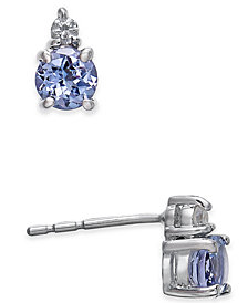 Tanzanite (1/2 ct. t.w.) & Diamond Accent Stud Earrings in 14k White Gold