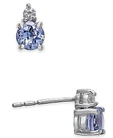 Tanzanite (1/2 ct. t.w.) & Diamond Accent Stud Earrings in 14k White Gold