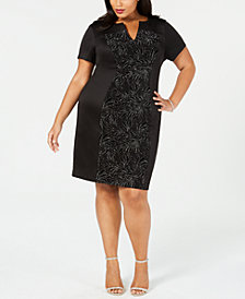 Connected Plus Size Glitter-Panel Sheath Dress