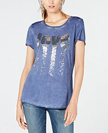 I.N.C. Love Sequined T-Shirt, Created for Macy's