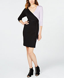I.N.C. Metallic Colorblocked Sweater Dress, Created for Macy's