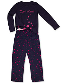 Calvin Klein Big Girls 2-Pc. Fleece Pajama Set