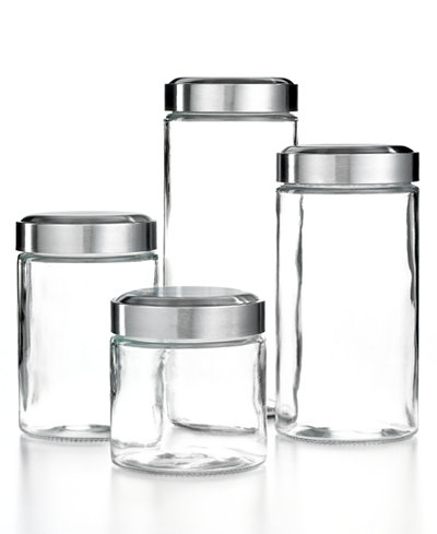 Martha Stewart Collection Glass Food Storage Containers Set Of 4 Canisters Kitchen Gadgets