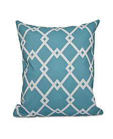 16 Inch Blue-Aqua Decorative Trellis Print Throw  Pillow