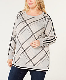 Charter Club Plus Size Plaid Sweater, Created for Macy's