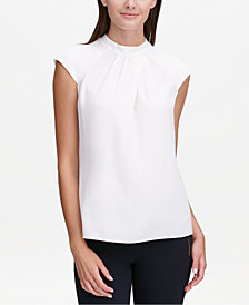 Calvin Klein Pleated Cap-Sleeve Top, Regular & Petite