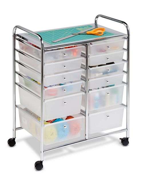 Honey Can Do Rolling Storage Cart and Organizer, 12 Plastic Drawers