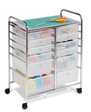 Honey Can Do Rolling Storage Cart and Organizer, 12 Plastic Drawers 614736