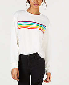Rebellious One Juniors' Rainbow-Stripe Graphic-Print T-Shirt