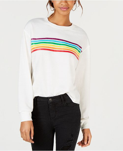 Rebellious One Juniors' Rainbow-Stripe Graphic-Print T-Shirt