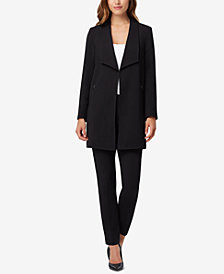 Tahari ASL Petite Wing-Lapel Long Topper